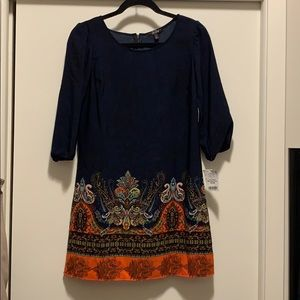 Navy Blue Paisley Dress